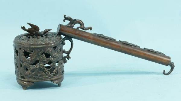 7: ANTIQUE CHINESE BRONZE INKPOT & BRUSH HOLDER