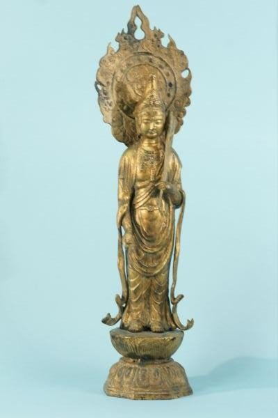 8: ANTIQUE METAL WITH GOLD LEAF BUDDHA