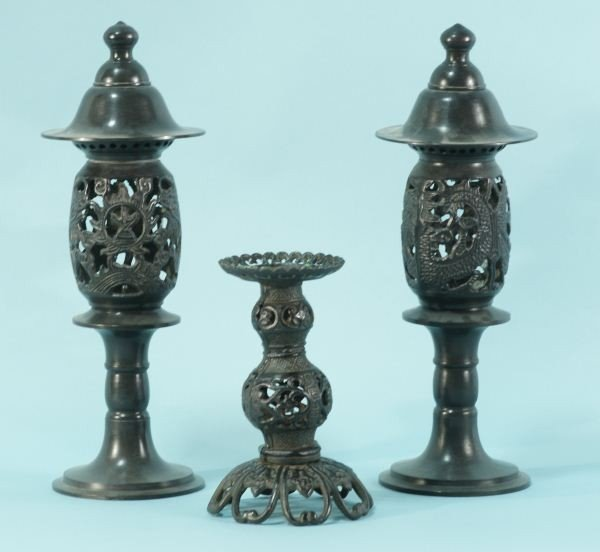 10: THREE JAPANESE IRON LANTERNS/CANDLESTICKS