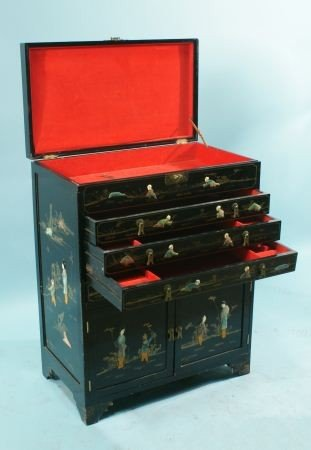 12: LACQUERED CHEST WITH IVORY & HARDSTONE INLAY