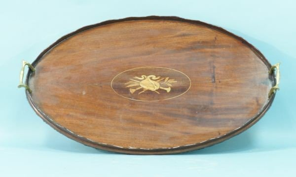 13: 19th CENTURY ENGLISH MAHOGANY & ROSEWOOD TRAY