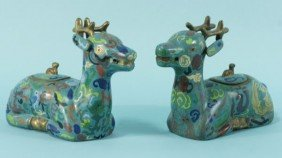 18: PAIR OF CLOISONNE REINDEER BOXES