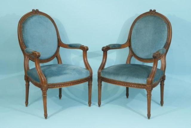 24: ANTIQUE FRENCH LOUIS XVI STYLE OVAL BACK  ARMCHAIR