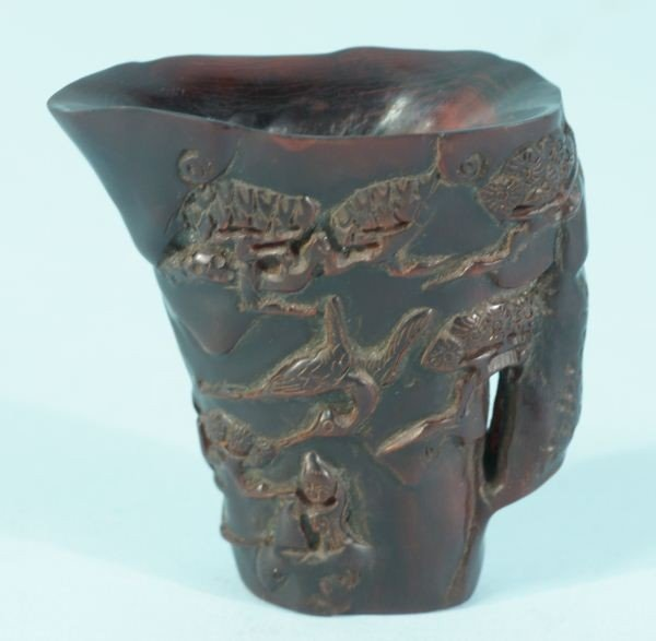 59: CHINESE CARVED RHINO HORN LIBATION CUP - 3
