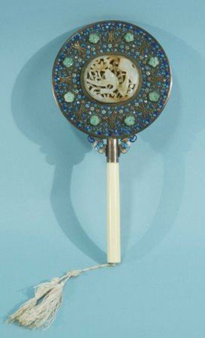 114: VANITY HAND CLOISONNE MIRROR WITH JADE INLAY