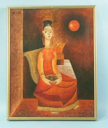 "225: JOSE SEGUIN ""CHINESE BUDDHA IN RED DRESS"" PAINTING"