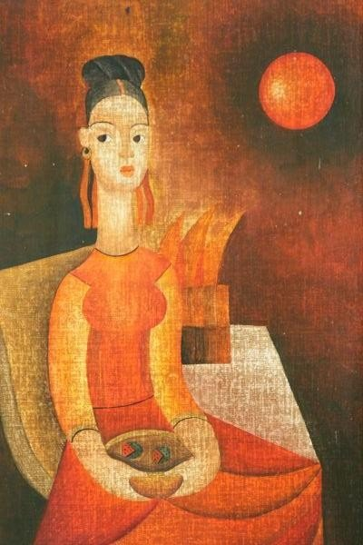 "225: JOSE SEGUIN ""CHINESE BUDDHA IN RED DRESS"" PAINTING - 2"