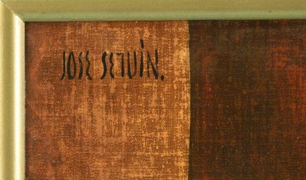 "225: JOSE SEGUIN ""CHINESE BUDDHA IN RED DRESS"" PAINTING - 3"