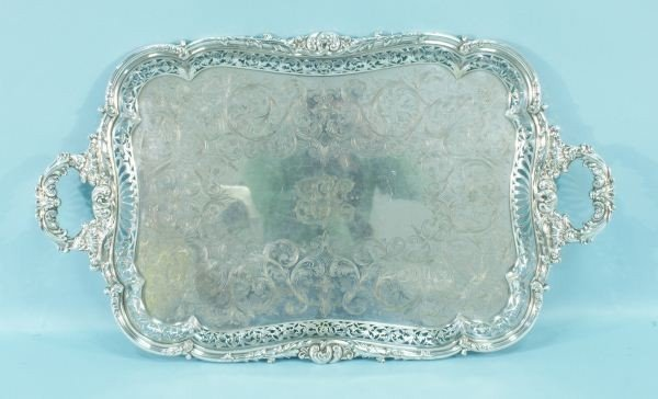 9: SILVERPLATED SERVING TRAY
