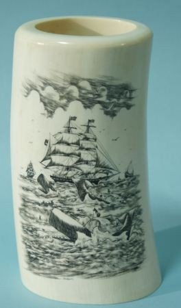 46: ELEPHANT TUSK WITH SCRIMSHAW, SIGNED JACKSON