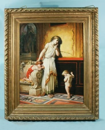 "70A: V. PALMAROLI ""MOTHER & GIRLS"" PAINTING, 1895"