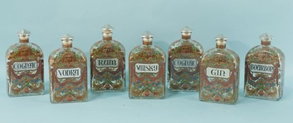 1: LOT OF SEVEN ENAMEL ON GLASS  DECANTERS