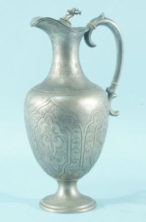 9: INCISED DECORATION ON EUROPEAN PEWTER PITCHER