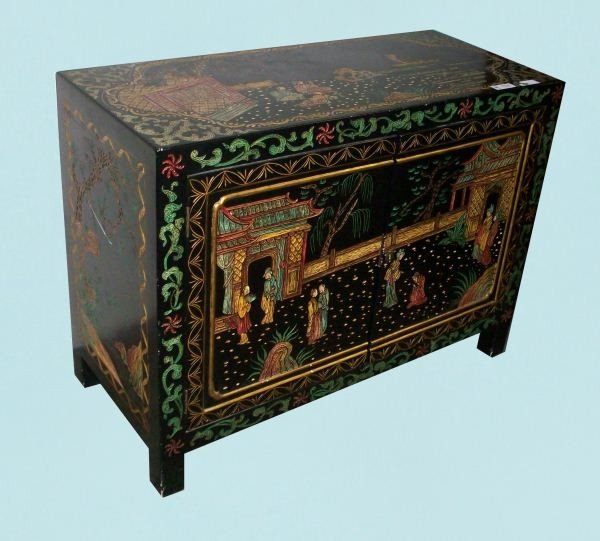 12: CHINESE BLACK LACQUER CABINET