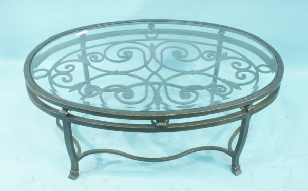 60A: WROUGHT IRON GLASS TOP COFFEE TABLE
