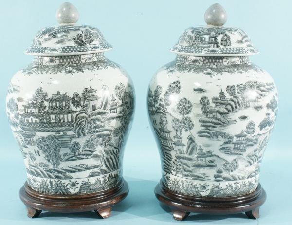 1: PAIR OF CHINESE B. & W. TRANSFERWARE JARS