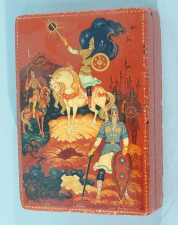 3: RUSSIAN LACQUER BOX WITH KNIGHTS AND HORSE