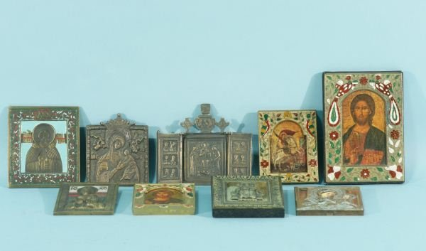 5: LOT OF NINE RUSSIAN ICONS & BRASS RELIEFS