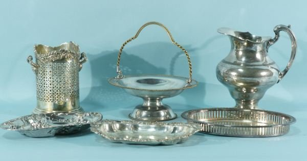 9: LOT OF SIX SILVERPLATED SERVING PIECES