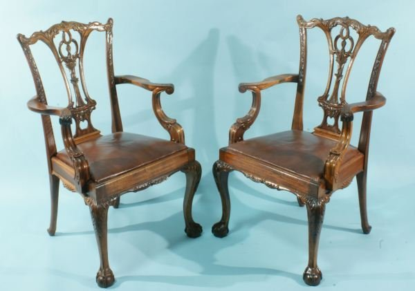 14: PAIR OF MAHOGANY CHIPPENDALE STYLE ARMCHAIRS