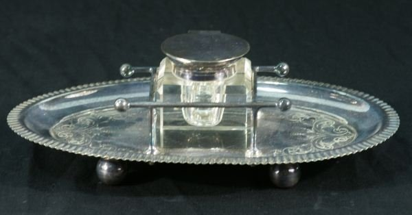 14: VINTAGE CUT GLASS AND SILVER INKWELLL