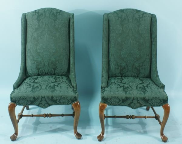 19: PAIR OF QUEEN ANNE STYLE WING CHAIRS
