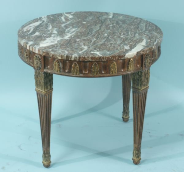 20: FRENCH MARBLE TOP LAMP TABLE
