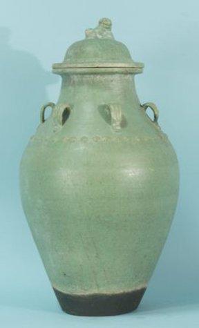 21A: ANTIQUE ORIENTAL GREEN GLAZED TERRACOTTA JAR