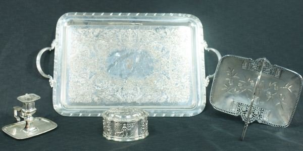 9: LOT OF FOUR SILVERPLATED SERVING PIECES
