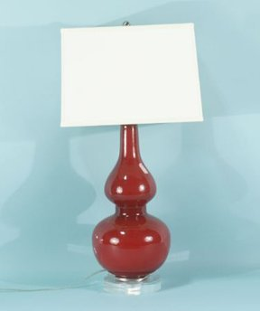 1: RED GLASS DOUBLE GOURD SHAPED LAMP