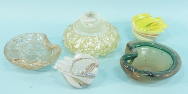 2: LOT OF FIVE VINTAGE MURANO ART GLASS OBJECTS