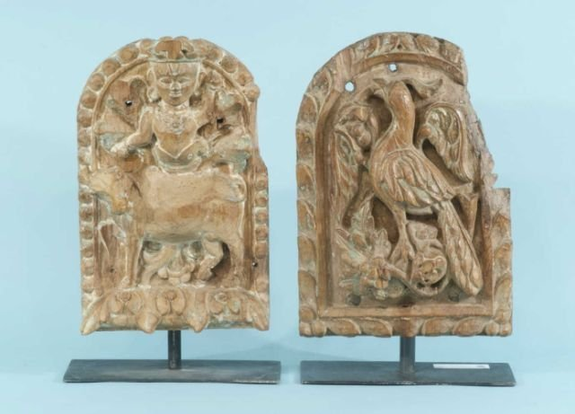 3: PAIR ANTIQUE WOOD CARVED INDIAN TEMPLE FRAGMENTS