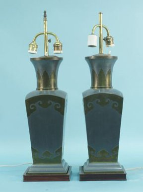 5: PAIR OF CHINESE PEWTER LAMPS