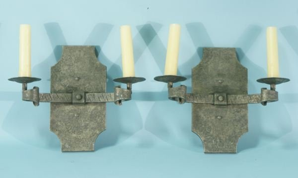 14A: PAIR OF IRON ART DECO WALL SCONCES