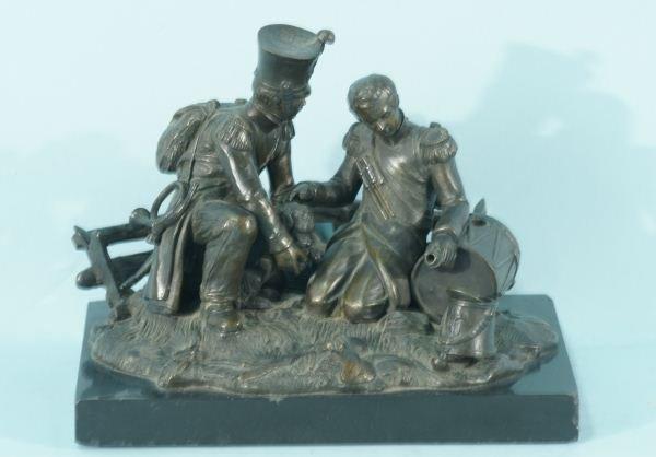 16: 19th C. BRONZE SCULPTURE OF A DRUMMER BOY & SOLDIE
