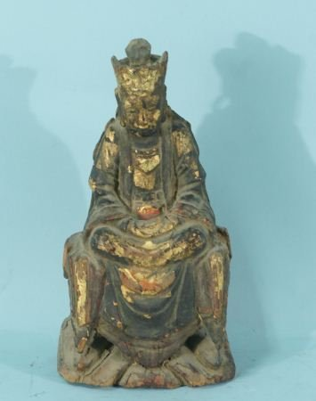 20: ANTIQUE WOOD CARVED & GILDED BUDDHA