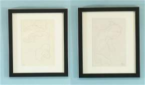 113 JEAN ARP TWO ABSTRACT DRAWING PENCILCHARCOAL
