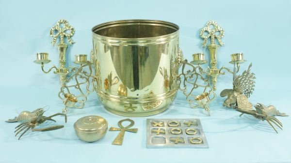 1: MIXED LOT OF 11-BRASS DECORATIVE PIECES