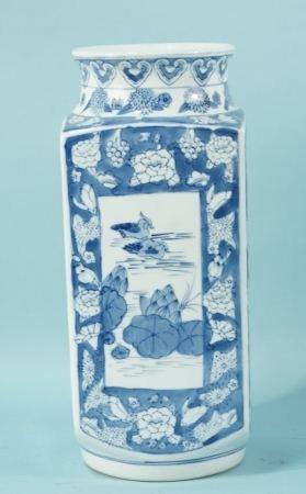 3: CHINESE BLUE & WHITE PORCELAIN RECTANGULAR VASE