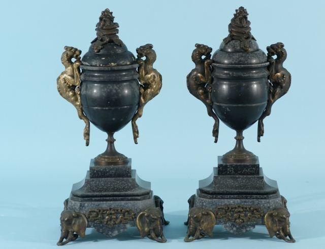 5: PAIR OF ANTIQUE BRONZE AND MARBLE URNS