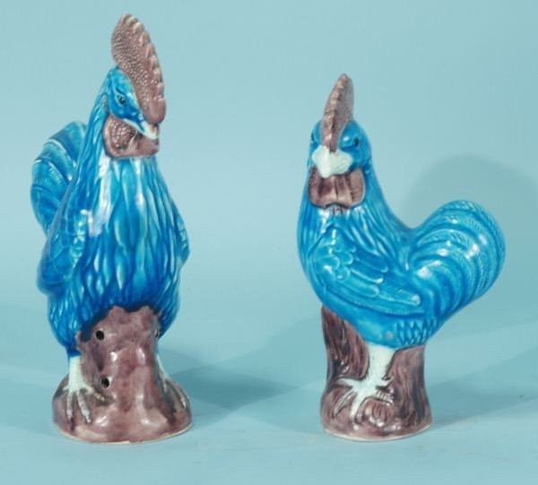 10: TWO BLUE PORCELAIN ROOSTERS MARKED JAPAN