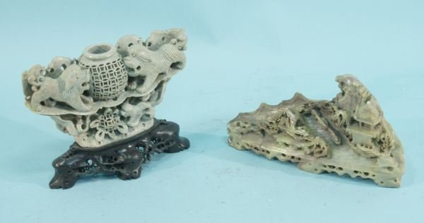 13: LOT OF TWO CHINESE SOAPSTONE CARVINGS
