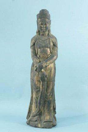 17: WOOD CARVED & GILDED QUAN YIN BUDDHA