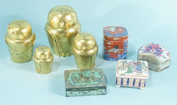21: MIXED LOT OF SEVEN LIDDED BOXES