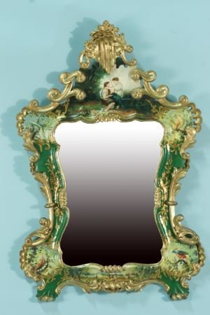22: PORTUGUESE PAINTED FRAMED MIRROR