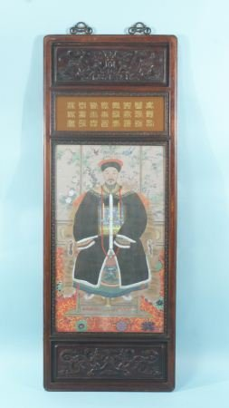 92: CHINESE ANCESTORY PAINTING IN WOOD CARVED FRAME