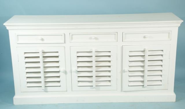 215: WHITE MANGO WOOD SHUTTER SIDEBOARD