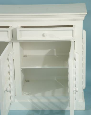 215: WHITE MANGO WOOD SHUTTER SIDEBOARD - 4