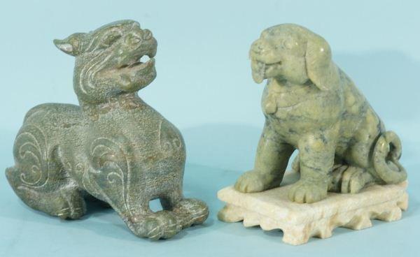 9B: 19th C. CHINESE CARVED FOO DOG AND A DRAGON