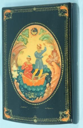5: RUSSIAN LACQUER BOX WITH PEOPLE ON A BOAT